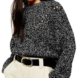 Topshop Chunky Marled Pointelle Crewneck Sweater